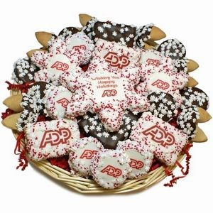 "12"" Round Custom Logo Snowflakes Holiday Cookie Basket w/Snowflake Cookie Card (36 Piece)"